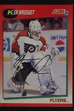 Ken Wregget Flyers Autographed 1991 Score #141R Hockey Card JSA 16H