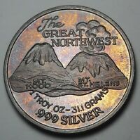 """TONED COLOR SILVER TRADE UNIT """"THE GREAT NORTHWEST"""" ROUND BU UNC VINTAGE (DR)"""
