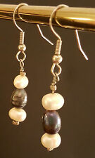 "BLACK & WHITE FRESHWATER PEARL EARRINGS, Sterling Silver Wires, Mint, 2"" drop"