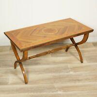 Tavolino tavolo antico da salotto soggiorno in legno intarsiato rettangolare