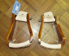 "NEW AHE SLANTED WOODEN ROPER STIRRUPS LEATHER WRAPPED 3.5"" TREAD BEAUTIFUL!"