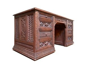 Magnificent 19th Century Victorian Desk with 17th Century Carved Panels