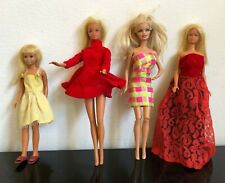 Lots of Four Barbie Dolls, Red and Yellow Dresses, Multiple Outfits, 1970s
