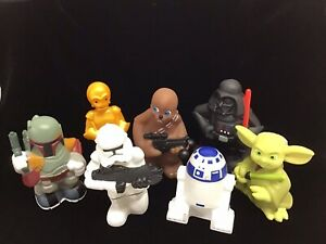 """2008 Disney Star Wars 5"""" PVC Rubber Figures Bath Toys Yoda Darth R2D2 C3PO Fett"""