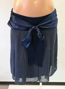 💜 PILGRIM Party A-Line Skirt Navy White Polka Dot Size 8 Buy7=FreePost L837