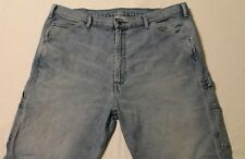 "LEVI's Carpenter Blue Jeans Tag-42""x30"" Actual-42""x27.5"" Faded Patched"