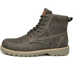 US Men Leather Waterproof Work High Top Boots Ankle Casual Non-Slip Hiking Shoes