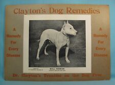 Clayton Dog Disease Remedy -Advertising Store Display Sign Champion Bull Terrier