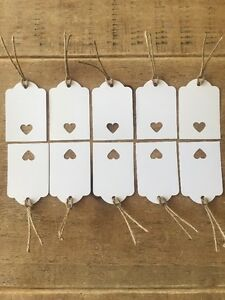10 Handmade White Gift Tags-labels-wedding-name-scalloped edge-large-with heart