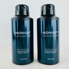 2 Bath & Body Works Midnight Men's Collection Deodorizing Body Spray 3.7 oz Each
