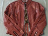 ONSTAGE Denmark Light Oxblood RARE Hand Crafted Women's Leather Jacket Size 8