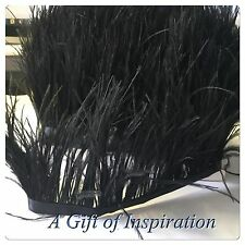 Soft Black Ostrich Feather Fringe Ribbon Trim Tassel (price for 30cm) DIY Craft