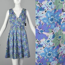 XS 2000s Marc Jacobs Blue Floral Dress Sleeveless Back Zip Short V Neckline