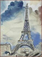1910 Paris France French Eiffel Tower Vintage Travel Advertisement Poster Print