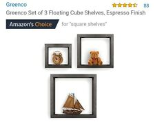 Set of 3 floating Contemporary Cube Shelves in Espresso color Finish
