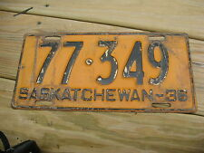 1936 36 SASKATCHEWAN CANADA CANADIAN LICENSE PLATE # 77-349 ORIGINAL TAG