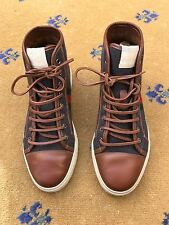 Gucci Mens Trainers Sneakers High Top Brown Grey Shoes UK 8 US 9 EU 42 Green Red