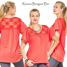 New Coral Top With Lace Shoulders Plus Size 14/1XL (9719)JN