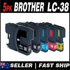Set of 5 Ink for Brother LC38 LC-38 2x LC-38BK 1x LC-38C 1x LC-38M 1x LC-38Y
