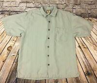 Tommy Bahama Mens Button Front Hawaiian Shirt Sz M Green 100% Silk Wood Buttons
