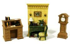 Doll House Furniture Victorian Den Desk Grandfather Clock Resin Miniature
