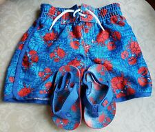 Baby Boy Swimming Shorts (12M) And Beach Sandals Set Blue and Red Crab Theme