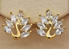 18K Gold Filled - Peacock Bird Cat Eyes Topaz Zircon Party Stud Earrings Gift