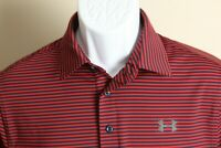 Under Armour Men's red and navy blue striped HeatGear s/s golf polo shirt Small