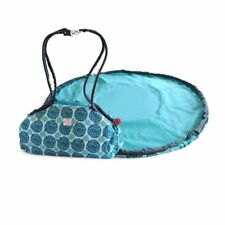 2 Red Hens Toy Nanny and Play Mat Tote, Turquoise Peacock Mum Design