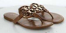 L7 MSRP $248 Women's Size 9 Tory Burch Metal Miller Brown Leather Thong Sandal