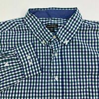 George Button Up Shirt Men's Size 2XL XXL Long Sleeve Green Blue White Checkered