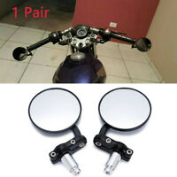 """BLACK MOTORCYCLE 7/8"""" HANDLE BAR END SIDE MIRRORS FOR BOBBER CLUBMAN CAFE RACER"""