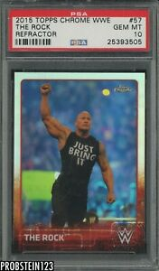2015 Topps Chrome WWE Wrestling Refractor #57 The Rock PSA 10 GEM MINT