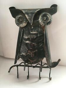 ANTIQUE ARTS CRAFTS METAL WHIMSICAL OWL KEY HOLDER HANG VINTAGE CURTIS JERE 60's