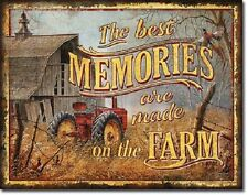 Best Memories Made on Farm TIN SIGN vintage tractor barn art rustic decor 2094