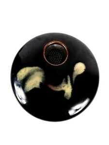 "Flower Frog Black Glazed Ceramic Decorative Design 6"" Round  Signed"