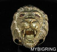 BRONZE MEN'S ANIMAL RING BIG LION OF JUDAH HEAD WITH CZ EYES ANTIQUED ANY SIZE