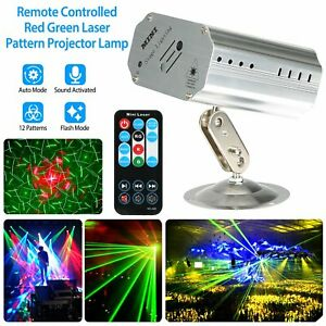 Sound Activated LED Projector Laser Patterns Party Disco Bar Music Strobe Lights