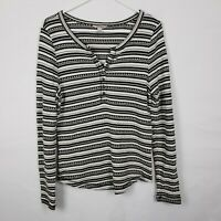 Lucky Brand WOmens Top Size L Striped Black WHite Long SLeeve Buttons Scoop Neck