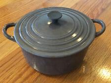 Vintage LE CREUSET France Cast Iron Dutch Oven & Lid, Brown / White Enamel B
