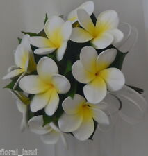 SILK WEDDING BOUQUET LATEX FRANGIPANI WHITE YELLOW FLOWERS POSY FLOWER 12PIECES
