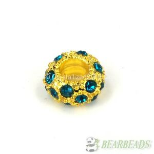 Big Hole Crystal Rhinestone Pave Rondelle Spacer Beads Fit European Charm Pick