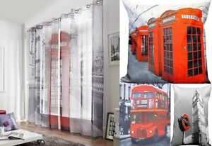 RED TELEPHONE BOX EYELET RING TOP PAIR OF LONDON WESTMINSTER VOILE CURTAINS
