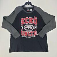 ECKO Unltd Mens 3XB Graphic T-Shirt Long Sleeve Black Gray White Red Logo Rhino
