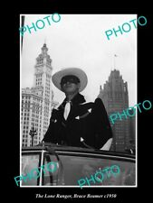 POSTCARD SIZE PHOTO OF BRACE BEEMER AS THE LONE RANGER IN PARADE CAR c1950