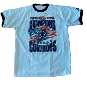 VTG 90s Dallas Cowboys NFL Super Bowl XXX Champion Starter T-Shirt L 1996 USA