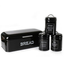 X384 Black Canister Set 4  Kitchen Food Storage Containers Coffee Sugar Tea Jars
