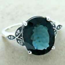 VICTORIAN 925 SILVER LONDON BLUE 3.8 CT SIM TOPAZ ANTIQUE STYLE RING SZ 8, #1160