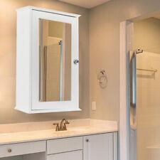 Wooden Bathroom Wall Medicine Cabinet Shelf Organizer w/ Mirror Door Storage