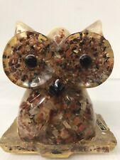 "Vintage Owl Napkin Holder Petrified Wood Lucite Acrylic 4.5"" Tall"